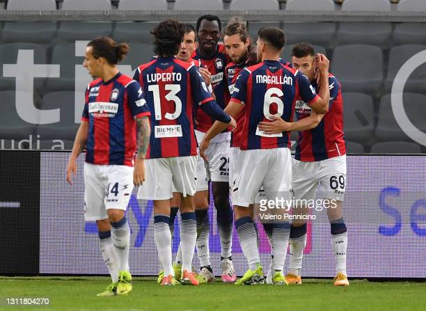 Simy Nwankwo of F.C. Crotone celebrates after scoring their team's second goal during the Serie A match between Spezia Calcio and FC Crotone at...