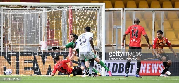 Simy Nwankwo of F.C. Crotone scores their team's second goal during the Serie A match between Benevento Calcio and FC Crotone at Stadio Ciro Vigorito...