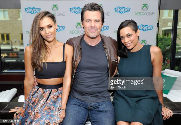 'Sin City A Dame to Kill For' actors Jessica Alba Rosario Dawson and Josh Brolin use Snap to chat with fans on Skype for Xbox One in the Microsoft...