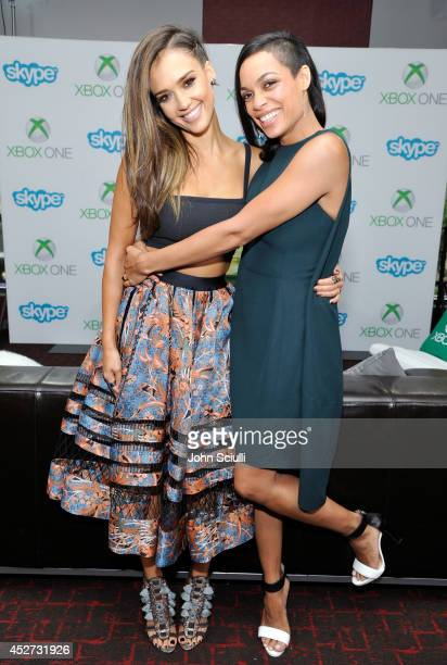 'Sin City A Dame to Kill For' actresses Jessica Alba and Rosario Dawson use Snap to chat with fans on Skype for Xbox One in the Microsoft VIP Lounge...