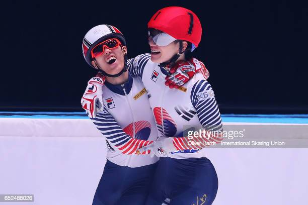 Sin da Woon and Seo Yi Ra of Korea celebrate after the Men's 3000m super finals race during day two of ISU World Short Track Championships at...