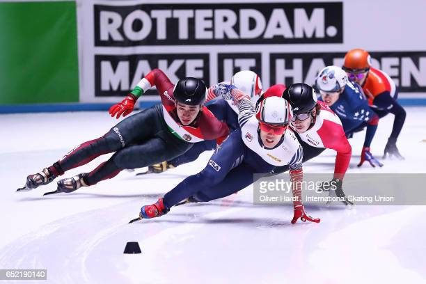 Sin da Woon of Korea competes during the Mens 1500m finals race during day one of ISU World Short Track Championships at Rotterdam Ahoy Arena on...