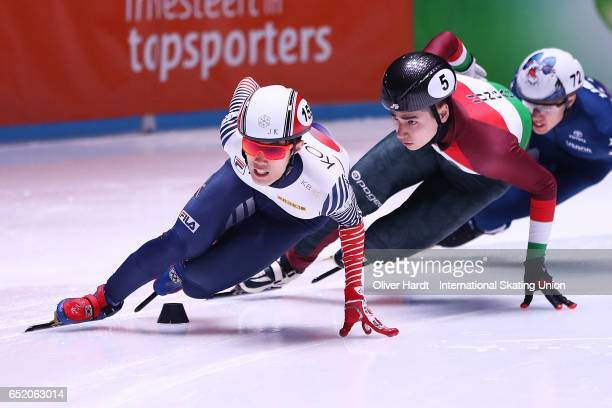 Sin da Woon of Korea competes in the Men's 1500m race during day one of ISU World Short Track Championships at Rotterdam Ahoy Arena on March 11 2017...