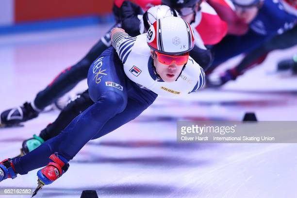 Sin da Woon of Korea competes in the Men's 1500m semifinals race during day one of ISU World Short Track Championships at Rotterdam Ahoy Arena on...