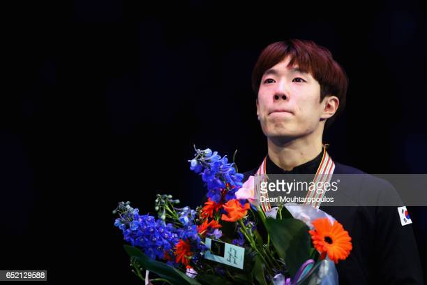 Sin da Woon of Korea on the podium with the gold medal after the Men«s 1500m race during day one of ISU World Short Track Championships at Rotterdam...