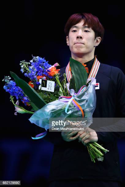 Sin da Woon of Korea on the podium with the gold medal after the Men's 1500m race during day one of ISU World Short Track Championships at Rotterdam...