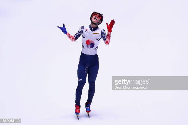 Sin da Woon of South Korea celebrates victory after he competes in the 1500m Mens Final at ISU World Short track Speed Skating Championships held at...