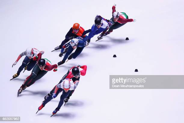 Sin da Woon of South Korea leads and goes on to take victory and the gold medal as he competes in the 1500m Mens Final with silver medalist Samuel...