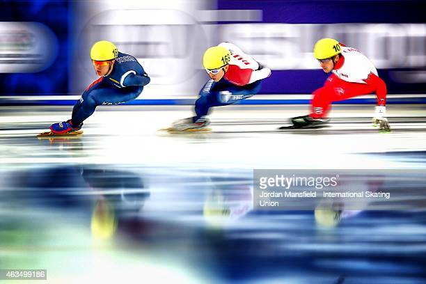 Sin DaWoon of Korea leads Victor An of Russia and Patrick Duffy of Canada during the Men's 1000m A final on day two of the ISU World Cup Short Track...