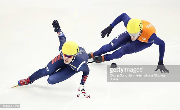 Sin DaWoon of South Korea and Daan Breeuwsma of Netherlands compete in the Men 5000m semi fanal relay during the ISU World Cup Short Track Speed...