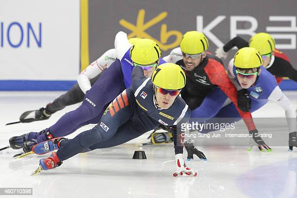 Sin DaWoon of South Korea Vladislav Bykanov of Israel and Chen Dequan of China compete in the Men 1500M Final A during the ISU World Cup Short Track...