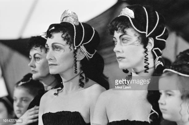 Siân Phillips and Linda Thorson as Furies in 'The Serpent Son' the BBC's threepart television adaptation of Aeschylus' Oresteia trilogy of Greek...