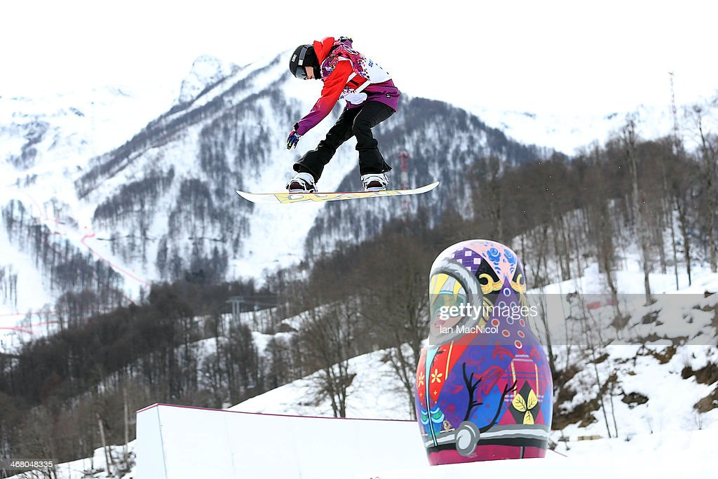 Sina Candrian of Switzerland competes during the Snowboard Women's Slopestyle Final during day 2 of the Sochi 2014 Winter Olympics at Rosa Khutor Extreme Park on February 9, 2014 in Sochi, Russia.
