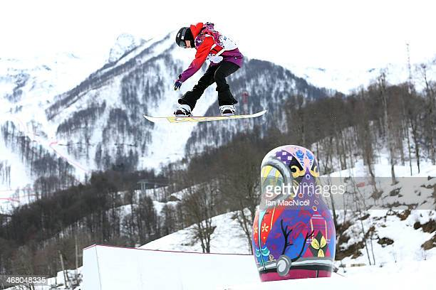 Sina Candrian of Switzerland competes during the Snowboard Women's Slopestyle Final during day 2 of the Sochi 2014 Winter Olympics at Rosa Khutor...