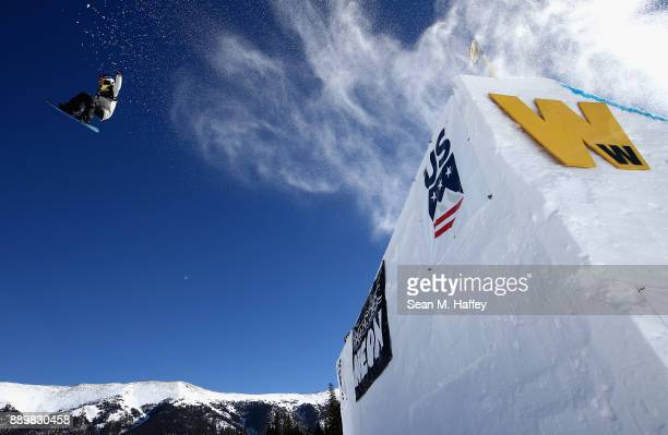 Sina Candrian of Switzerland competes in the final of the FIS Snowboard World Cup 2018 Ladies' Big Air during the Toyota US Grand Prix on December 10...