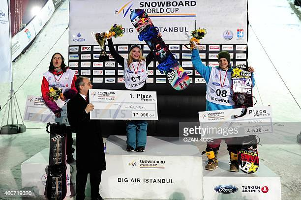 Sina Canndrian second place Ty Walker in first place and Cheryl Maas third place take the podium for the FIS World Cup Women`s Snowboard Big Air...