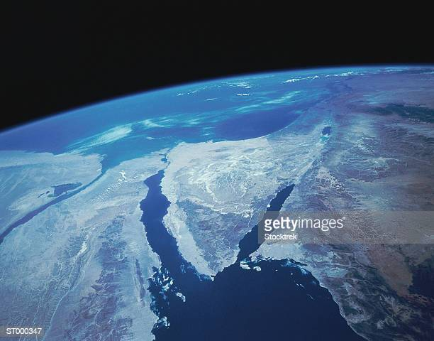 sinai peninsula from space - suez canal stock pictures, royalty-free photos & images