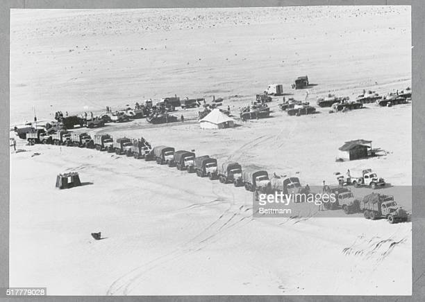 Sinai Peninsula United Arab Republic Sinai Deployment Trucks tanks and armored cars of the United Arab Republic Army prepare to take up positions in...