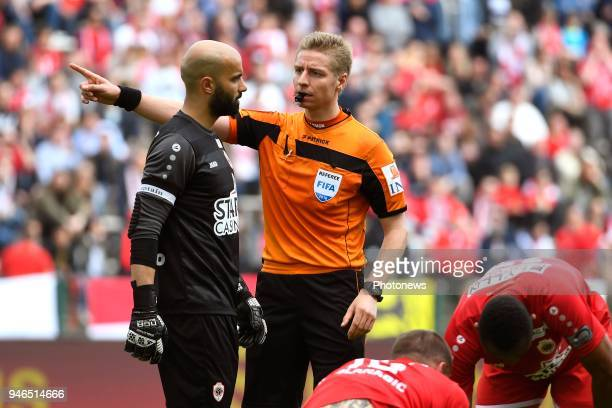 Sinan Bolat goalkeeper of Antwerp FC referee Visser Lawrence during the Jupiler Pro League play off 2 match between Royal Antwerp FC and Beerschot...