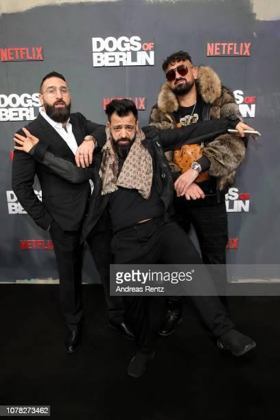 Sinan Farhangmehr, Roozbeh Farhangmehr and Haftbefehl attend the premiere of the Netflix Original Series 'Dogs of Berlin' at Kino International on...