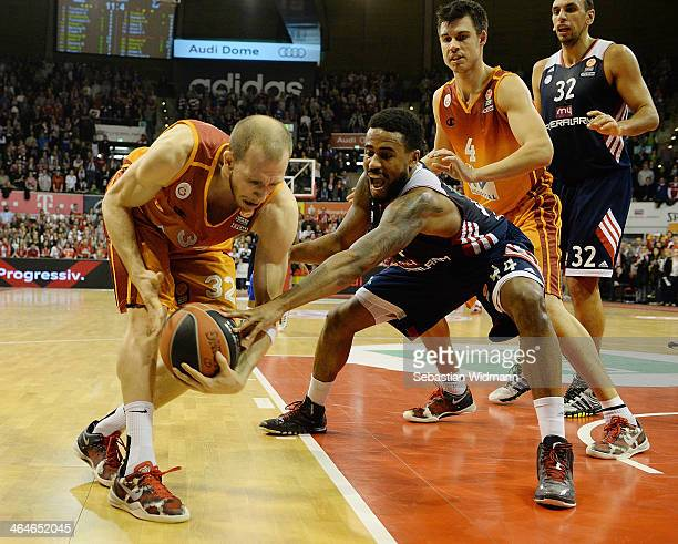 Sinan Guler #32 of Galatasaray Liv Hospital Istanbul competes with Bryce Taylor #44 of FC Bayern Munich during the 20132014 Turkish Airlines...