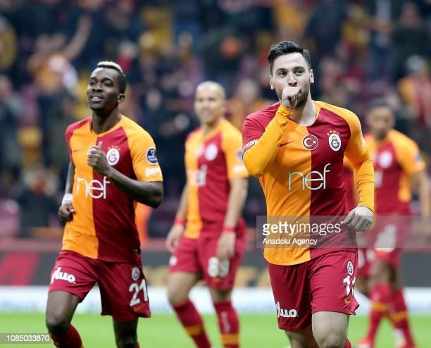 Sinan Gumus of Galatasaray celebrates after scoring a goal during Turkish Super Lig soccer match between Galatasaray and Ankaragucu at Turk Telekom...