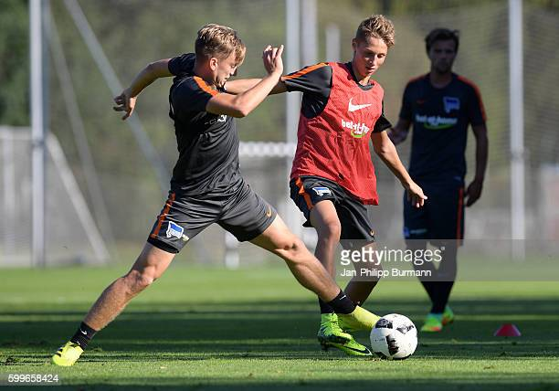 Sinan Kurt and Palko Dárdai of Hertha BSC during the training on september 6 2016 in Berlin Germany