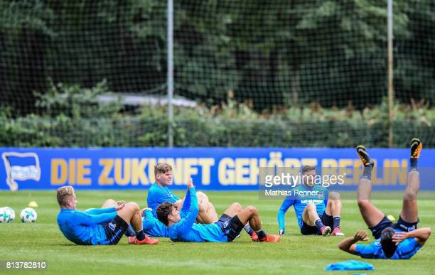 Sinan Kurt Florian Baak Maurice Covic and Mathew Leckie during the sixth day of the training camp of Hertha BSC on july 13 2017 in Bad Saarow Germany