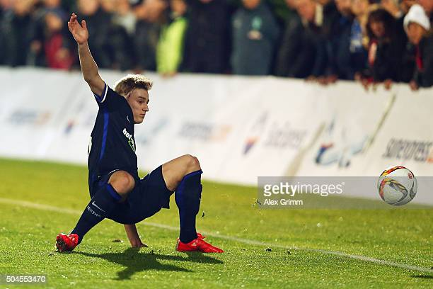 Sinan Kurt of Berlin falls during a friendly match between Hannover 96 and Hertha BSC Berlin at Cornelia Sports Center on January 11 2016 in Belek...