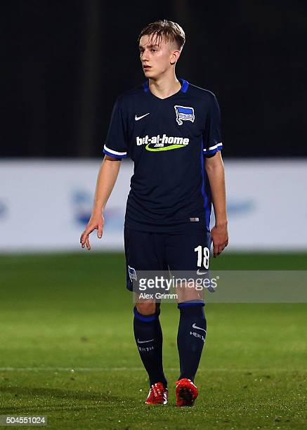 Sinan Kurt of Berlin reacts during a friendly match between Hannover 96 and Hertha BSC Berlin at Cornelia Sports Center on January 11 2016 in Belek...