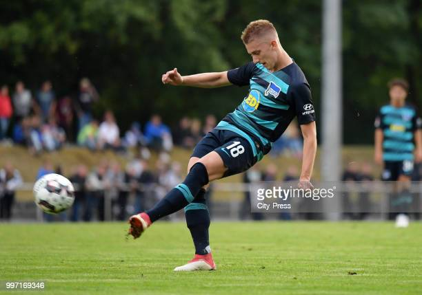 Sinan Kurt of Hertha BSC during the game between MSV Neuruppin against Hertha BSC at the VolksparStadion on july 12 2018 in Neuruppin Germany