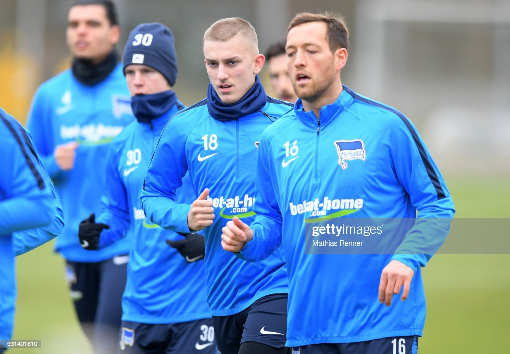 Sinan Kurt of Hertha BSC during the training session at the Schenkendorfplatz on march 13, 2018 in Berlin, Germany.