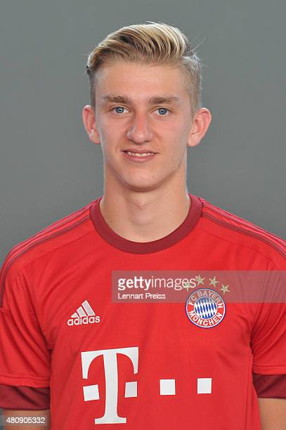 Sinan Kurt poses during the team presentation of FC Bayern Muenchen at Bayern's training ground Saebener Strasse on July 16 2015 in Munich Germany