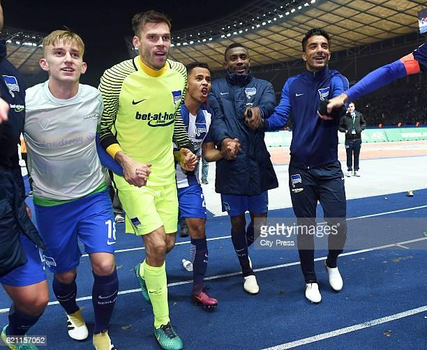 Sinan Kurt Rune Almenning Jarstein Allan Salomon Kalou and Sami Allagui of Hertha BSC celebrate the 30 win during the game between Hertha BSC and...
