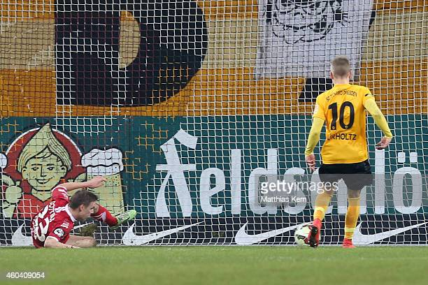 Sinan Tekerci scores the first goal during the third league match between SG Dynamo Dresden and FC Energie Cottbus at Gluecksgas-Stadion on December...