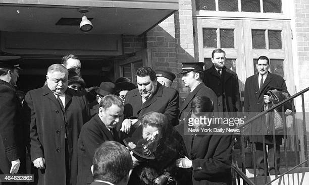 Sinatra's Grieve at Church Frank Sinatra Sr and son Frank Jr escort Frank's grieving mother from the Church of the Madonna Fort Lee N J after Requiem...