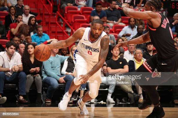 Sindarius Thornwell of the LA Clippers handles the ball against the Miami Heat on December 16 2017 at American Airlines Arena in Miami Florida NOTE...