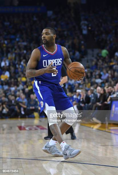 Sindarius Thornwell of the LA Clippers looks to pass the ball against the Golden State Warriors during the first half of their NBA Basketball game at...
