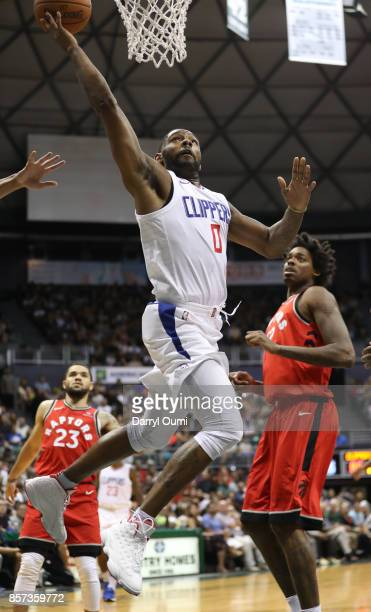 Sindarius Thornwell of the Los Angeles Clippers lays the ball in for two points during the third quarter off the game against the Toronto Raptors at...