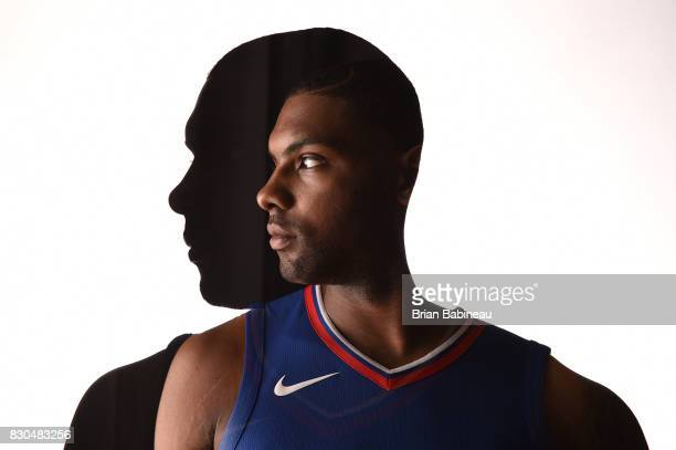 Sindarius Thornwell of the Los Angeles Clippers poses for a photo during the 2017 NBA Rookie Photo Shoot at MSG training center on August 11 2017 in...