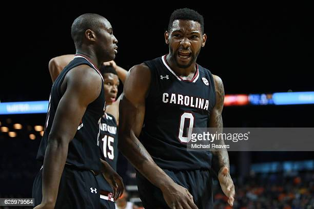 Sindarius Thornwell of the South Carolina Gamecocks reacts after a shot against the Syracuse Orange in the first half during the Brooklyn Hoops...
