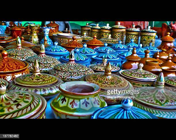 sindhi traditional clay pots - sindhi culture stock photos and pictures