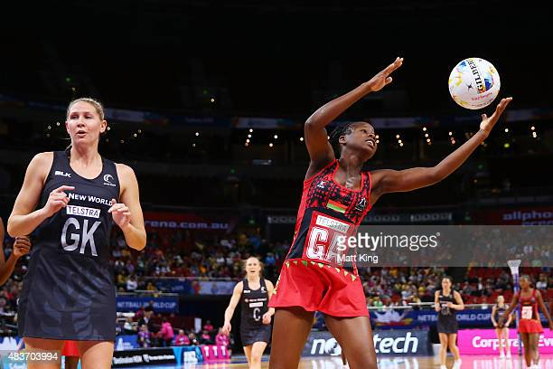 Sindi Simtowe of Malawi catches the ball uring the 2015 Netball World Cup Qualification round match between New Zealand and Malawi at Allphones Arena...