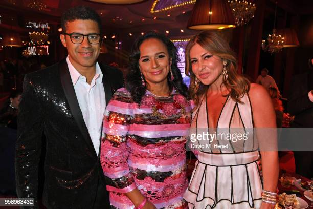 Sindika Dokolo Isabel dos Santos and Ella Krasner attend the de Grisogono party during the 71st annual Cannes Film Festival at Villa des Oliviers on...