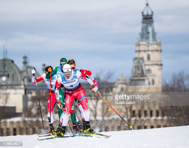 Sindre Bjoernestad Skar of Norway competes in the Men's 15km freestyle pursuit during the FIS Cross Country Ski World Cup Final on March 24, 2019 in...