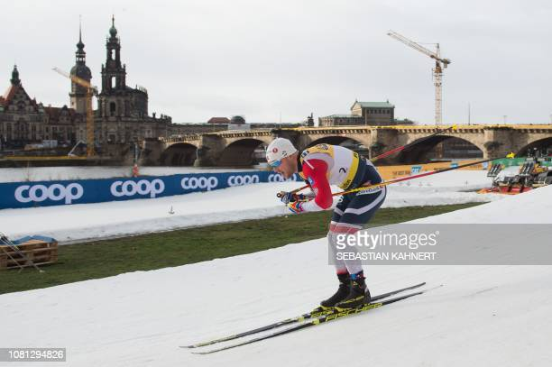 Sindre Björnestad Skar of Norway competes in the qualifying round of the Men's Sprint Free event at the FIS Cross Country World Cup on January 12...