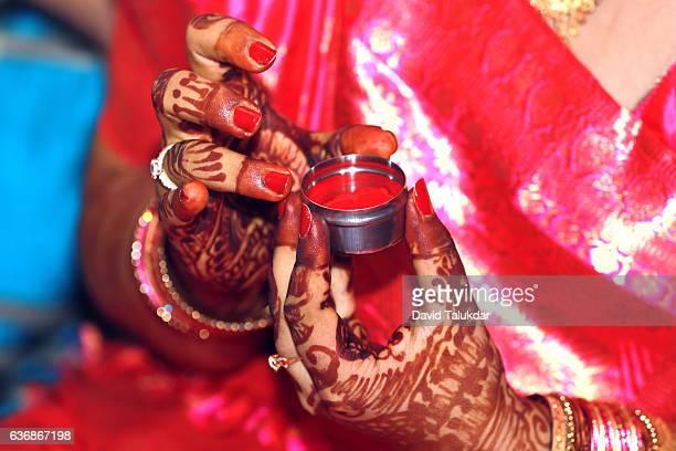 sindur - indian bride stock photos and pictures