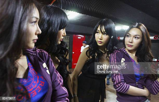 Sine and Sahara members of South Korea's first transgender group 'Lady' patricipates in the making of their music video on March 24 2005 in Seoul...