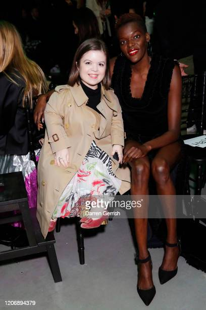 Sinead Burke and Sheila Atim attend the Christopher Kane show during London Fashion Week February 2020 on February 17 2020 in London England