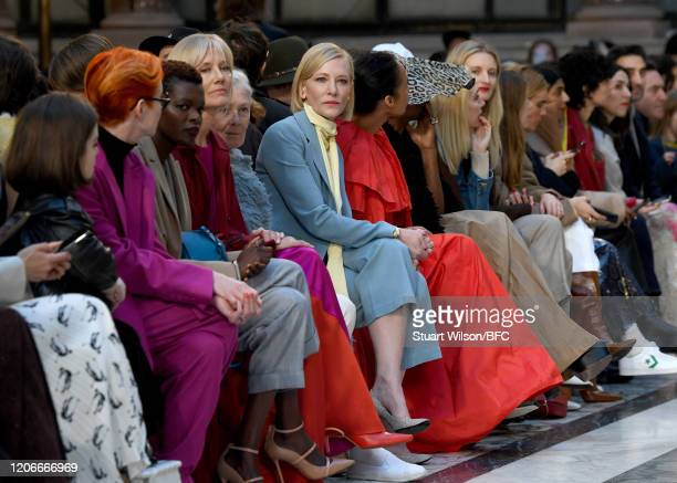 Sinead Burke Sandy Powell Sheila Atim Joely Richardson Vanessa Redgrave and Cate Blanchett sit front row for the Roksanda Show during London Fashion...